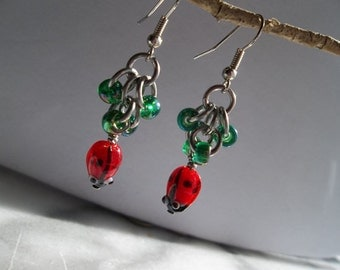 Lady Bug Chainmaille Earrings