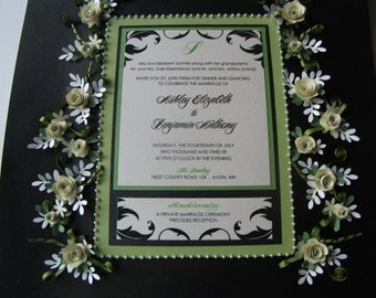 Apple Green & Black Wedding Invitation Embellished And Framed Under Glass