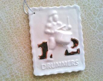 Twelve Drummers Drumming Porcelain Christmas Ornament