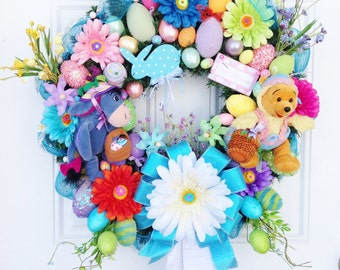 Disney Easter Wreath, Winnie the Pooh and Eeyore Easter Wreath, Spring Wreath, Winnie the Pooh and Eeyore