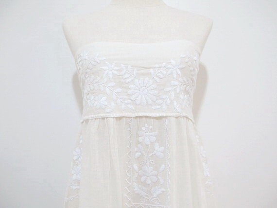 Mexican Embroidered Sundress Cotton Strapless