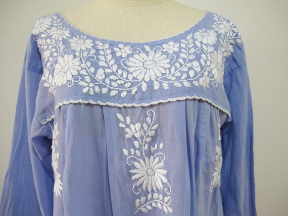 Mexican Embroidered Dress Long Sleeve Tunic In Blue Boho