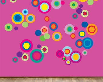 Reusable Circles Wall Decal - Childrens Fabric  Wall Decal - extra large