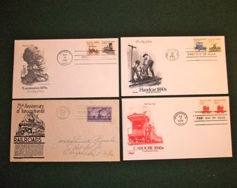 1944 Vintage Train and Railroad First Day Covers/ Set of 4