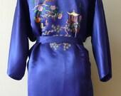 Vintage Embroidered Blue Satin Kimono Robe size Large