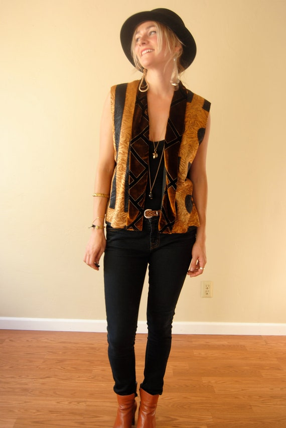 Vintage 80s 90s silk vest, open vest, burn out vest, women's vest, boho hippie vest, gothic vest, geometric shapes/ xs/s/m/l