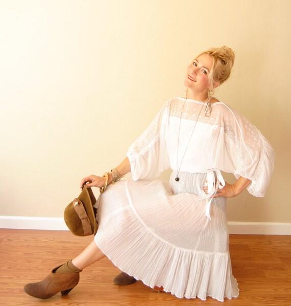 Vintage 1970s 70s lace dress summer dress wedding dress, hippie boho dress, sheer dress, lace angel flutter sleeves, xs/s/m