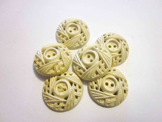 6 x Vintage 1930s White Cut Out Buttons