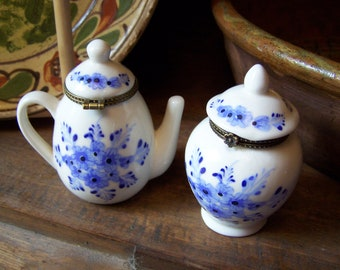 Small Antique Porcelain Intricately Detailed Teapot and Covered Vase with Floral Clasp