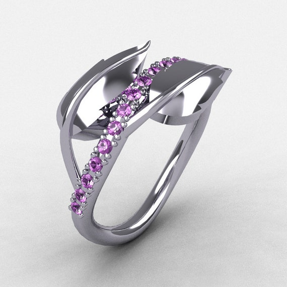 14K White Gold Lilac Amethyst Leaf and Vine Wedding Ring, Engagement Ring NN113-14KWGBT