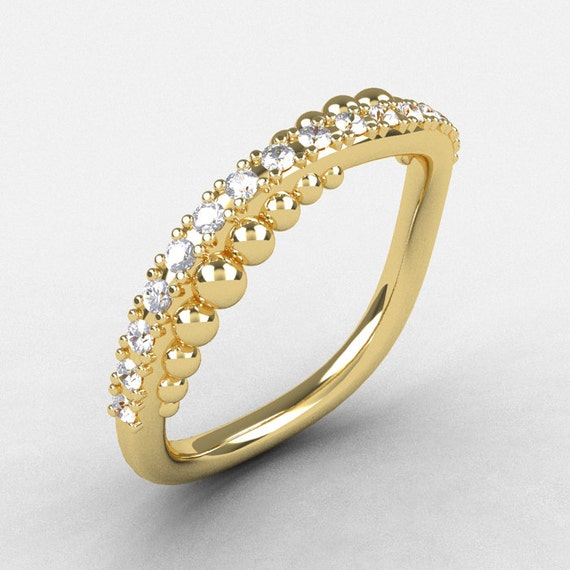 18K Yellow Gold Cubic Zirconia Pearl and Vine Wedding Band, Engagement Ring NN115-18KYGCZ