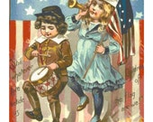 Vintage Retro 4th of July Kids with Flag PDF Cross-Stitch Pattern