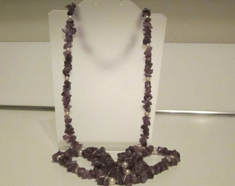 """Vintage 35"""" Beaded Necklace with Purple Stones and white Beads"""