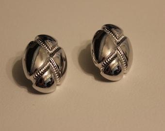Vintage Monet Silvertone Pierced Earrings