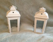 Pair of Shabby Chic Lanterns (candle's not provided) 9""