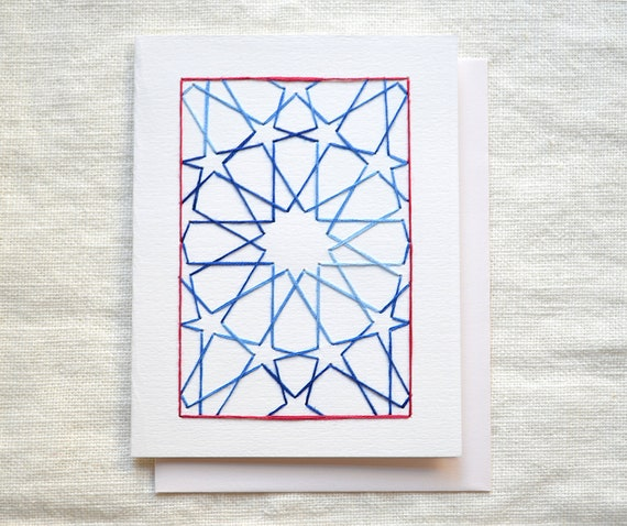Embroidered Card, Moroccan Inspired Star Design, Blue and Red