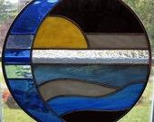 Moon and Sun Over Water Round Stained Glass Panel, Suncatcher, Custom Color Option, Beach Decor, Coastal Art, Window Hanging, Nautical Decor