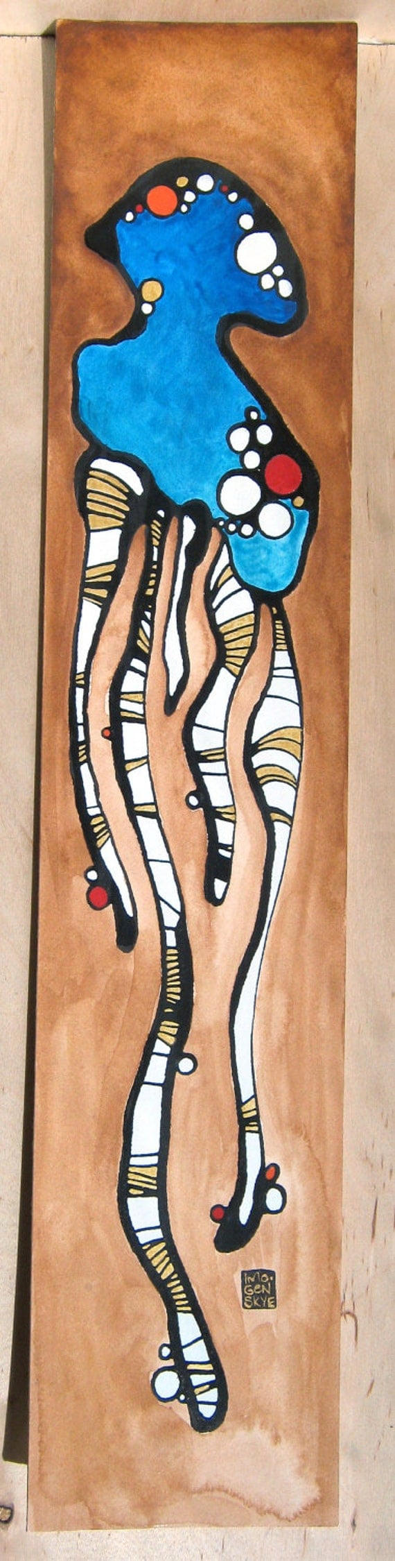 Sea Creature Squid- SQUIDDY THING- Original Painting, Signed, Ink, Gouache & Watercolour