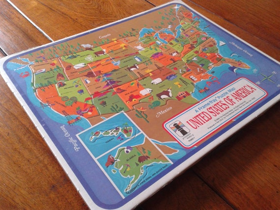 NEW UNUSED Vintage US States Map Frame Tray Puzzle