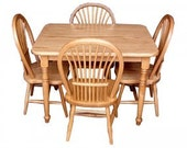 Childs Solid Oak Table and 4 Chair Set Handcrafted Antique Syle - Free Shipping