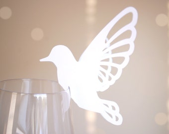 Perching Bird Shape Wine Glass Place Cards Set of 20