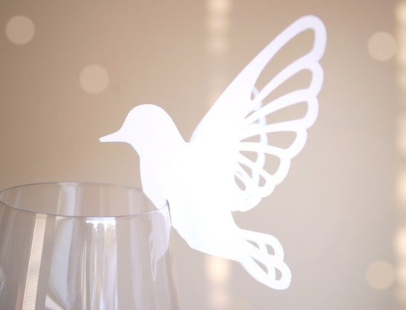 Perching Bird Shape Wine Glass Place Cards Set of 10