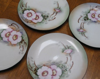 Bohemian Signed Hand-Painted Dessert Bread Wedding Cake Plates - Set of Four