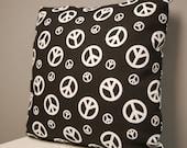 16 inch Black White Peace Sign Print Accent Throw Pillow Cover, Decorative Retro Pillow, Invisible Zipper Closure