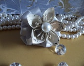 Sheet Music Flower Hair Clip with Ribbon & Pearl