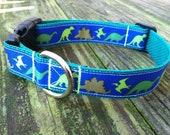"""1"""" Adjustable Dinosaur Parade Dog Collar"""
