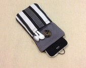 Simple black & white stripe handmade iPhone sleeve, iPod touch pouch, padded, Kindle case, Smart cellphone cover, Samsung galaxy cover