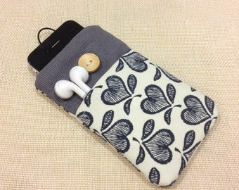 Cute hearts handmade fabric iPhone sleeve, iPod touch case, pouch, Kindle case, smart cellphone cover,Samsung galaxy cover