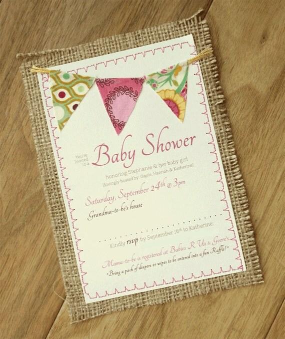 items similar to burlap baby shower 5x7 invitation on etsy
