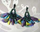 Abstract Fabric Ruffle Earrings Print Rhinestone Neon ruched Purple Blue Lime Printed Green Stone bright color block mixed texture OOAK
