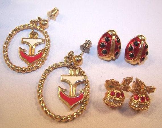 Avon lot Collection of pierced Earrings Christmas Ladybug Nautical gold tone