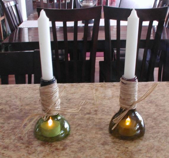 items similar to smaller cut wine bottle candleabras on etsy. Black Bedroom Furniture Sets. Home Design Ideas