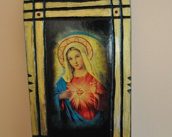 The Sacred Heart of Virgin Mary, Icon.Unique Religious Art and Gifts for Your Special Ones