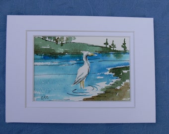 "Heron egret bird lover nature art Chesapeake Bay original miniature watercolor 5"" x 7"" matted by Sally Tia Crisp"