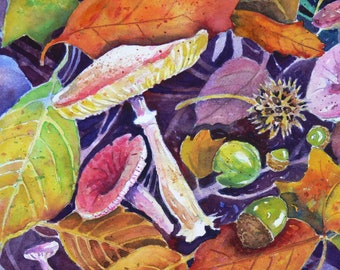 Found Objects Watercolor print by Sally Tia Crisp Autumn Treasures Acorns Leaves Mushrooms