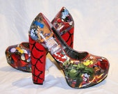 Spiderman comic book Heel with glitter web detail.