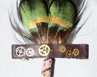 Handmade Green and Gold Steampunk Feather Barrette or Fascinator