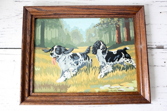 Vintage Paint By Number - Framed Dog Scene