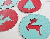 Paper Christmas Tree Reindeer Scalloped Round Gift Tags, Red Teal Round Paper Holiday Reindeer Cut Outs, Large Christmas Gift Tags, Set of 4 - CutOutTheFun