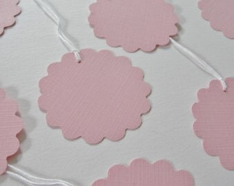 Superior Pink Baby Shower Gift Tags, Pink Gift Tags, Scalloped Round Paper Cutouts,  Pink