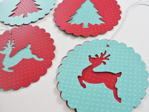 Items Similar To Paper Christmas Tree Reindeer Scalloped