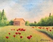 "Original watercolor ""Poppy field"" (4""x6"")"