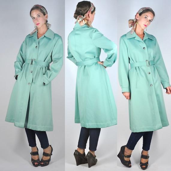VTG 70s Mint Green London Fog Trench Coat Rain Jacket Macintosh Retro Boho S/M