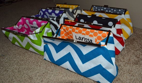 Set of 6 Custom Bridesmaids Clutches - You choose colors and patterns (chevron available)