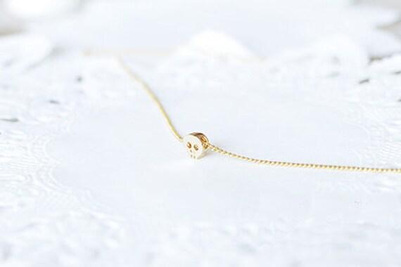 dainty minimalist tiny gold skull necklace skull jewelry
