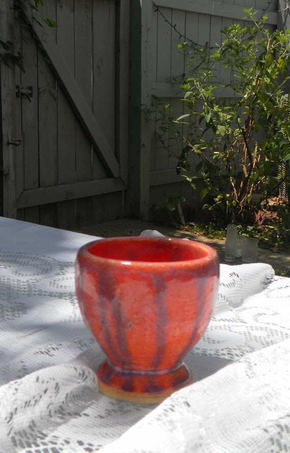 Wheel Thrown Egg Cup Glazed in Sedona Sunset and Pansy Purple